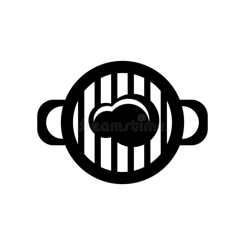 Vettore dell'icona della griglia isolato su fondo bianco, segno della griglia, simboli dell'alimento illustrazione vettoriale