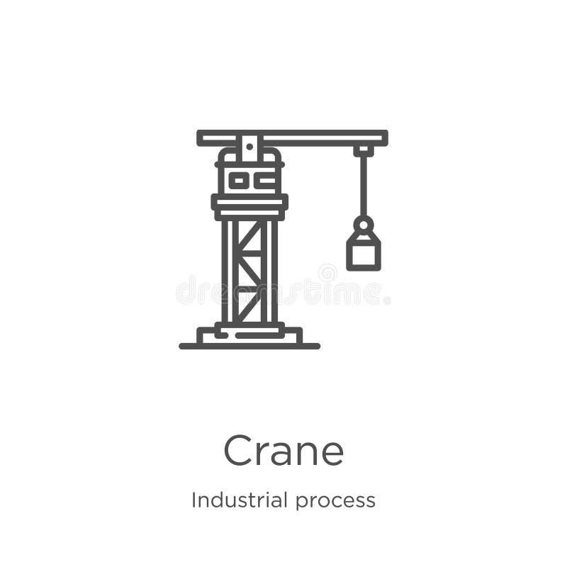 vettore dell'icona della gru dalla raccolta di processo industriale Linea sottile illustrazione di vettore dell'icona del profilo illustrazione vettoriale