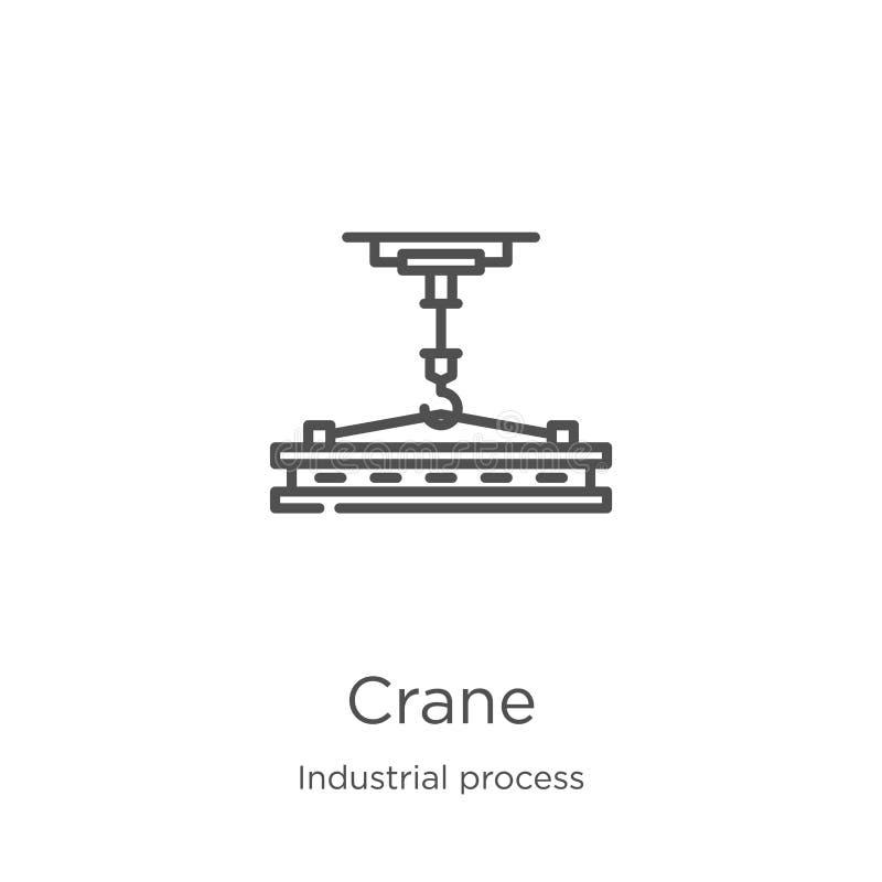 vettore dell'icona della gru dalla raccolta di processo industriale Linea sottile illustrazione di vettore dell'icona del profilo royalty illustrazione gratis
