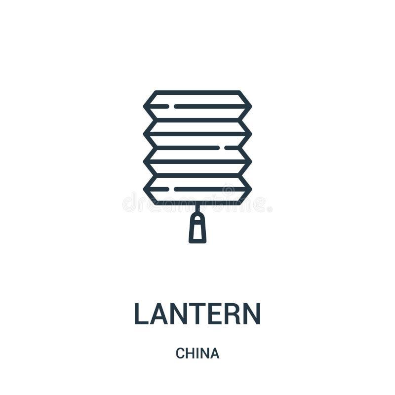 vettore dell'icona della lanterna dalla raccolta della porcellana Linea sottile illustrazione di vettore dell'icona del profilo d royalty illustrazione gratis