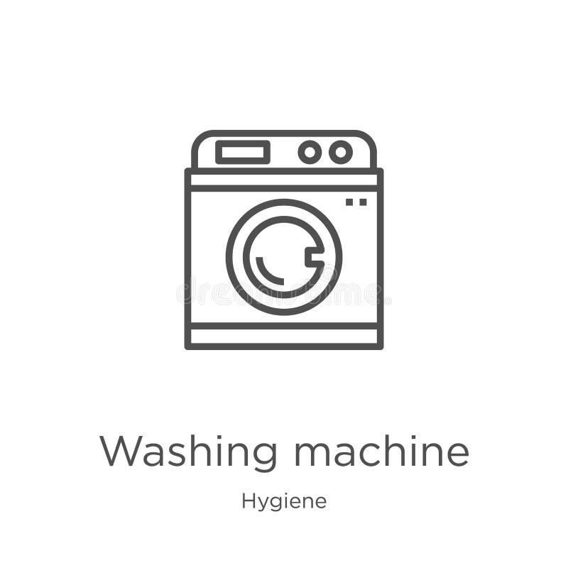 vettore dell'icona della lavatrice dalla raccolta di igiene Linea sottile illustrazione di vettore dell'icona del profilo della l royalty illustrazione gratis