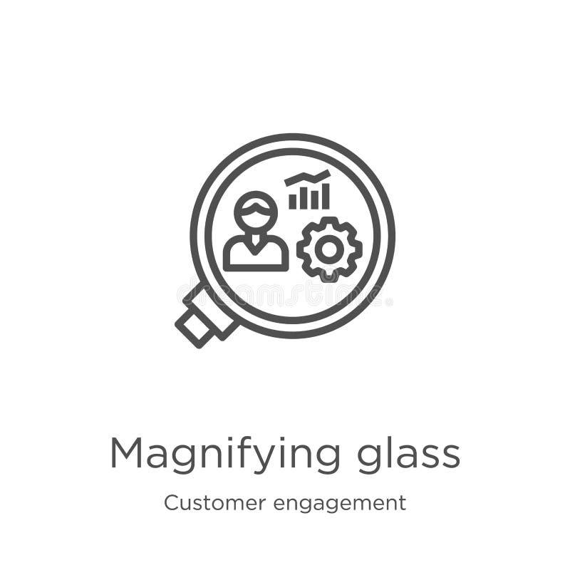 vettore dell'icona della lente d'ingrandimento dalla raccolta di impegno del cliente Linea sottile illustrazione di vettore dell' royalty illustrazione gratis