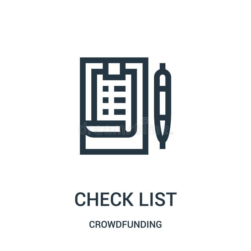 vettore dell'icona della lista di controllo dalla raccolta crowdfunding Linea sottile illustrazione di vettore dell'icona del pro royalty illustrazione gratis