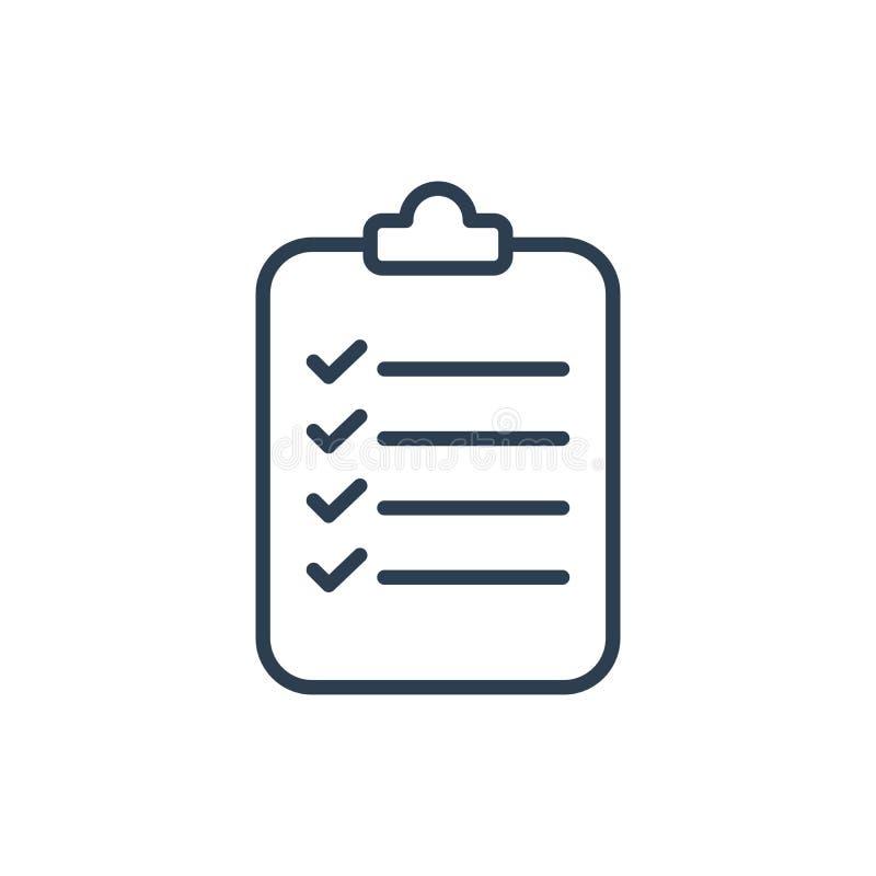 Vettore dell'icona della lista di controllo Una delle icone di web dell'insieme Linea arte illustrazione vettoriale