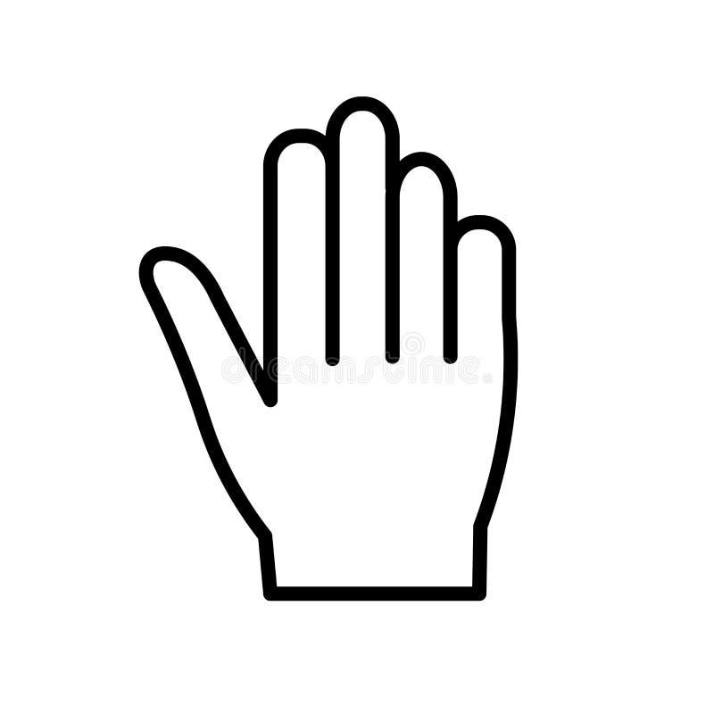 Vettore dell'icona della mano isolato su fondo bianco, sul segno della mano, sulla linea o sul segno lineare, progettazione dell' illustrazione di stock