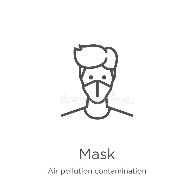 vettore dell'icona della maschera dalla raccolta di contaminazione di inquinamento atmosferico Linea sottile illustrazione di vet illustrazione di stock