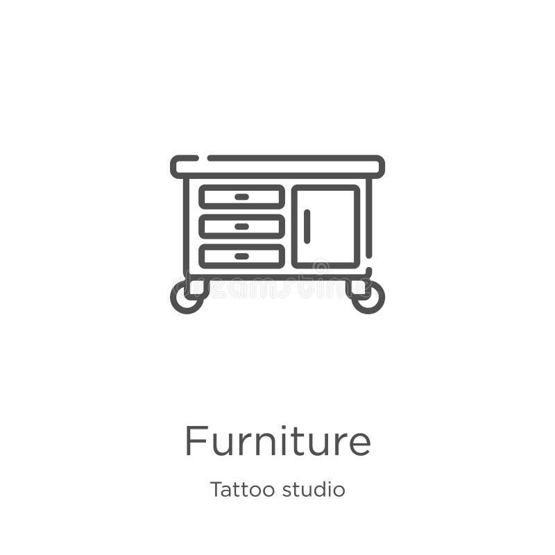 vettore dell'icona della mobilia dalla raccolta dello studio del tatuaggio Linea sottile illustrazione di vettore dell'icona del  illustrazione vettoriale