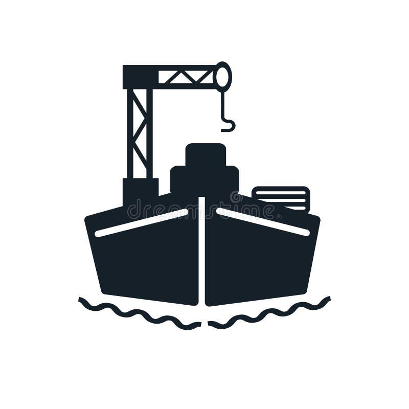 Vettore dell'icona della nave da carico isolato su fondo bianco, segno della nave da carico illustrazione di stock