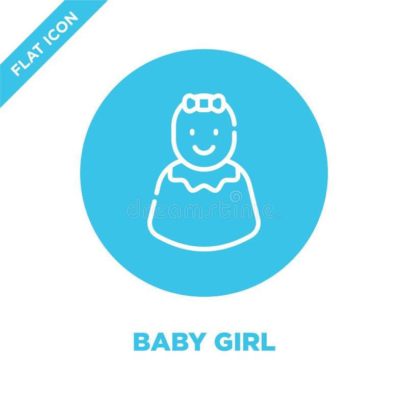 vettore dell'icona della neonata dalla raccolta dei giocattoli del bambino Linea sottile illustrazione di vettore dell'icona del  illustrazione di stock