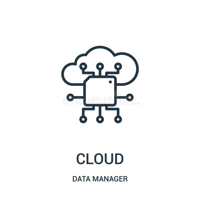 vettore dell'icona della nuvola dalla raccolta del responsabile di dati Linea sottile illustrazione di vettore dell'icona del pro royalty illustrazione gratis