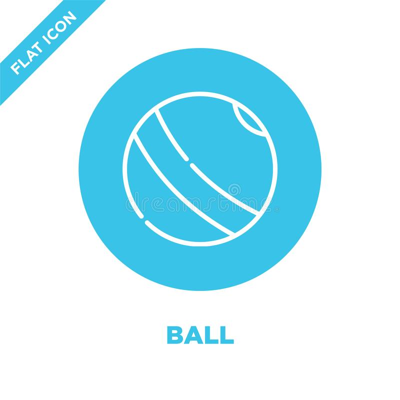 vettore dell'icona della palla dalla raccolta dei giocattoli del bambino Linea sottile illustrazione di vettore dell'icona del pr royalty illustrazione gratis