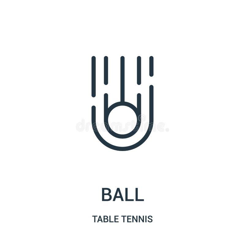 vettore dell'icona della palla dalla raccolta di ping-pong Linea sottile illustrazione di vettore dell'icona del profilo della pa illustrazione di stock