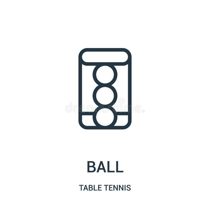 vettore dell'icona della palla dalla raccolta di ping-pong Linea sottile illustrazione di vettore dell'icona del profilo della pa illustrazione vettoriale