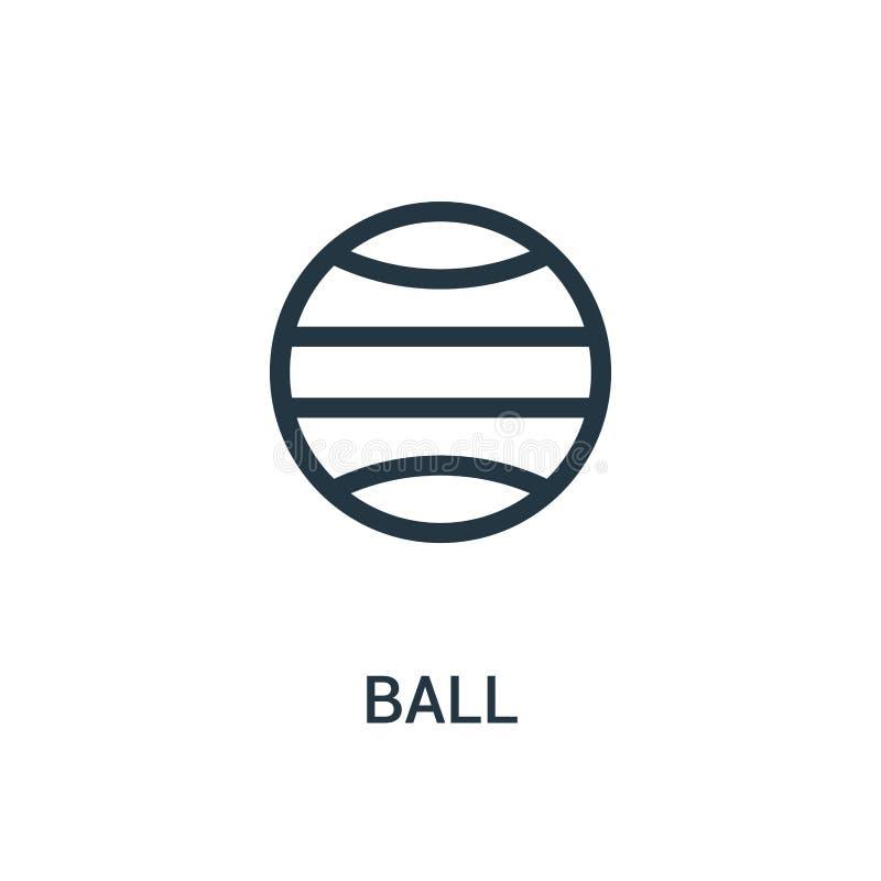 vettore dell'icona della palla dalla raccolta della palestra Linea sottile illustrazione di vettore dell'icona del profilo della  illustrazione vettoriale