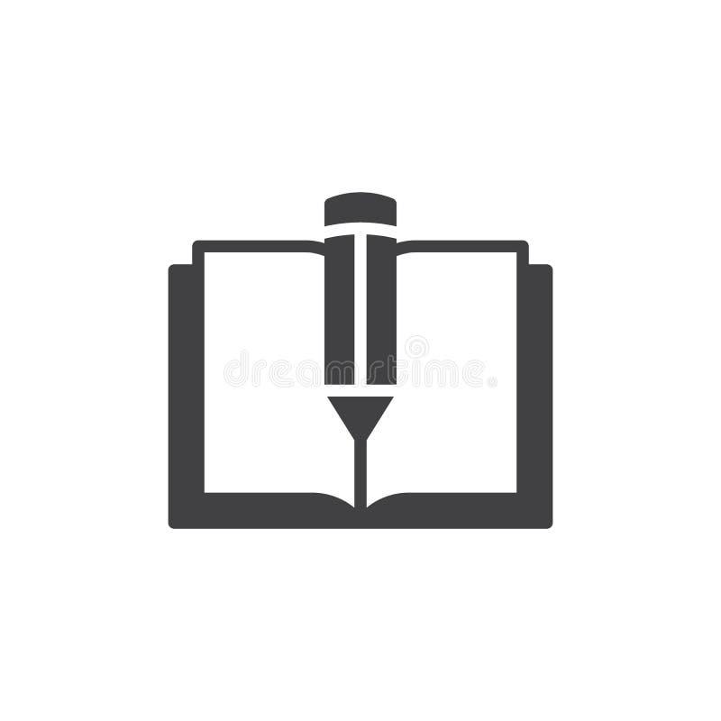 Vettore dell'icona della penna e del libro di testo royalty illustrazione gratis