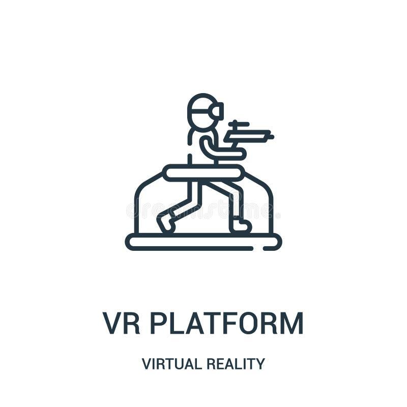 vettore dell'icona della piattaforma del vr dalla raccolta di realtà virtuale Linea sottile illustrazione di vettore dell'icona d illustrazione di stock