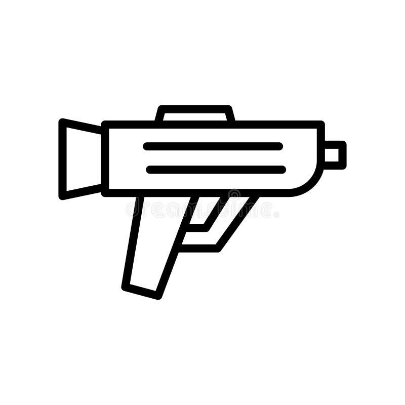 Vettore dell'icona della pistola isolato su fondo bianco, sul segno della pistola, sulla linea o sul segno lineare, progettazione illustrazione di stock