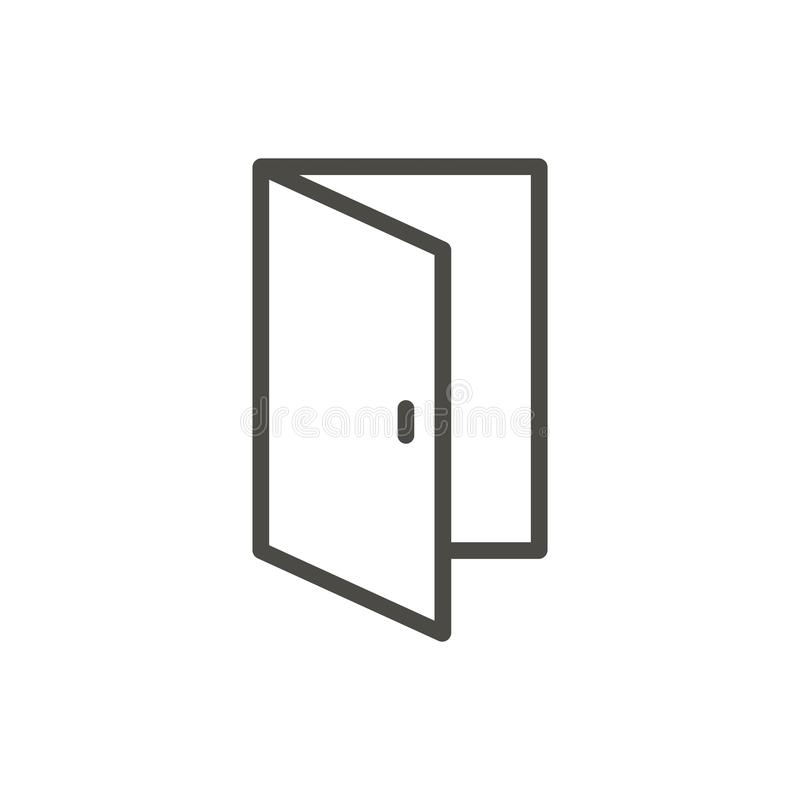 Vettore dell'icona della porta aperta Entrata del profilo Linea simbolo della porta illustrazione di stock