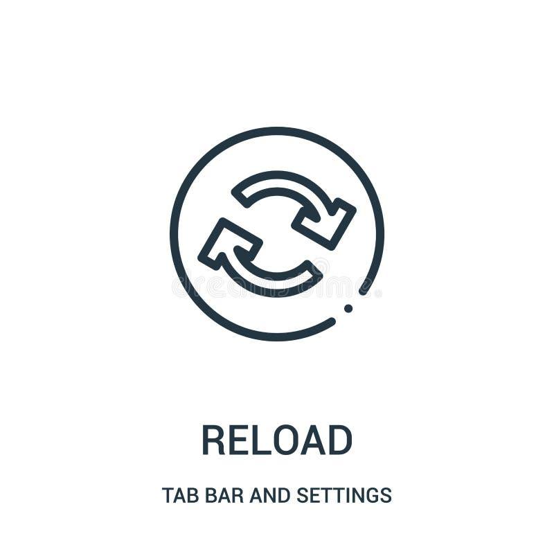 vettore dell'icona della ricarica dalla barra della linguetta e dalla raccolta delle regolazioni Linea sottile illustrazione di v illustrazione di stock