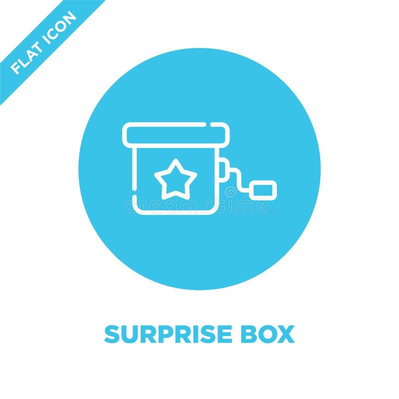 vettore dell'icona della scatola di sorpresa dalla raccolta dei giocattoli del bambino Linea sottile illustrazione di vettore del illustrazione vettoriale