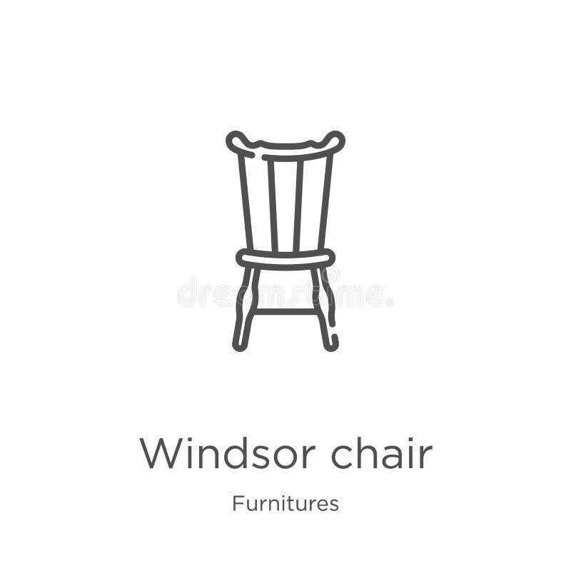 vettore dell'icona della sedia di windsor dalla raccolta delle mobilie Linea sottile illustrazione di vettore dell'icona del prof illustrazione vettoriale