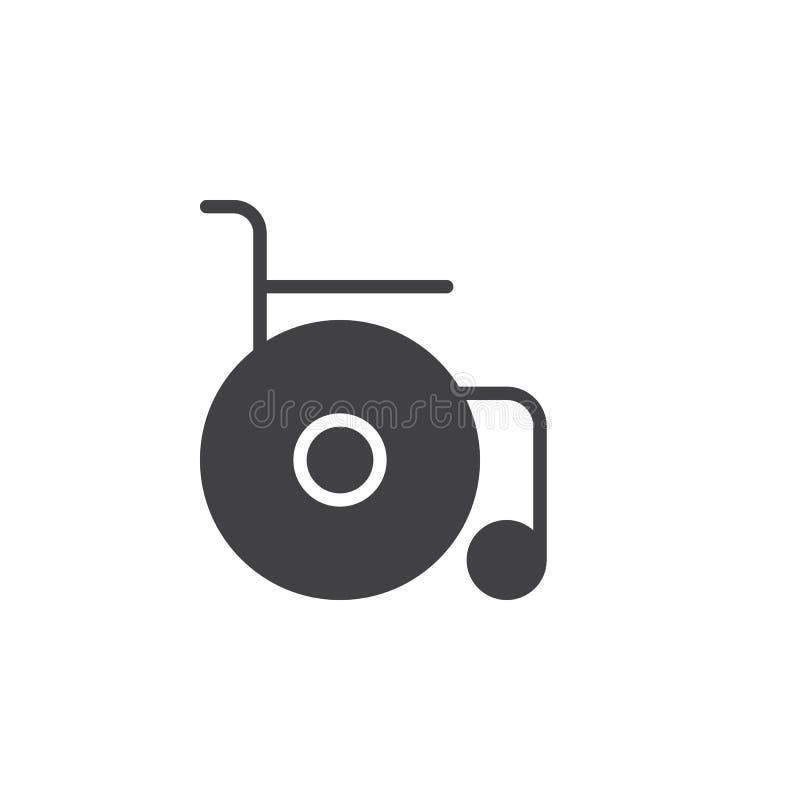 Vettore dell'icona della sedia a rotelle, segno piano riempito, pittogramma solido isolato su bianco illustrazione vettoriale