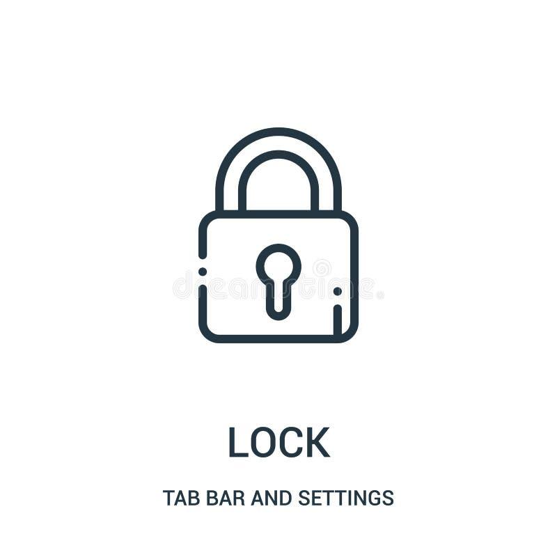 vettore dell'icona della serratura dalla barra della linguetta e dalla raccolta delle regolazioni Linea sottile illustrazione di  royalty illustrazione gratis