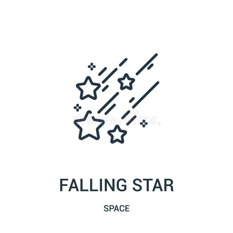 vettore dell'icona della stella cadente dalla raccolta dello spazio Linea sottile illustrazione di vettore dell'icona del profilo illustrazione di stock