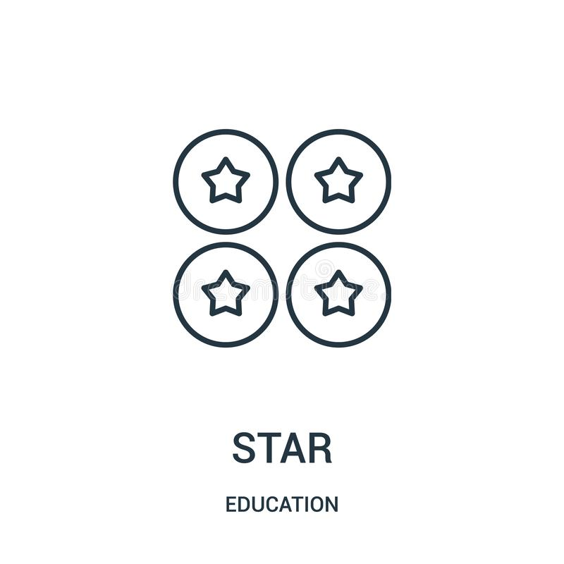 vettore dell'icona della stella dalla raccolta di istruzione Linea sottile illustrazione di vettore dell'icona del profilo della  illustrazione vettoriale