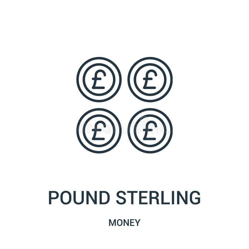 vettore dell'icona della sterlina dalla raccolta dei soldi Linea sottile illustrazione di vettore dell'icona del profilo della st illustrazione vettoriale
