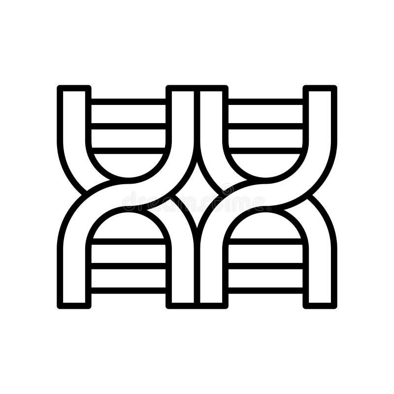 Vettore dell'icona della struttura del DNA isolato su fondo bianco, segno della struttura del DNA, linea sottile elementi di prog royalty illustrazione gratis