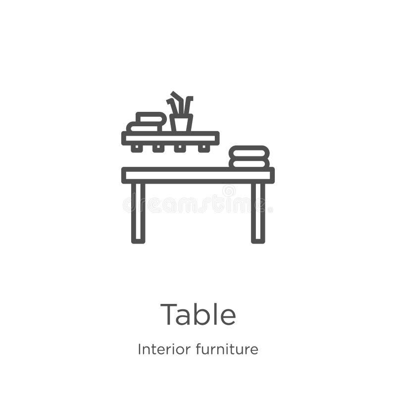 vettore dell'icona della tavola dalla raccolta interna della mobilia Linea sottile illustrazione di vettore dell'icona del profil illustrazione vettoriale