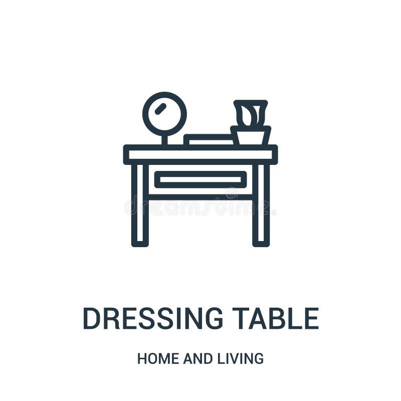 vettore dell'icona della tavola di condimento dalla casa e dalla raccolta vivente Linea sottile illustrazione di vettore dell'ico illustrazione di stock