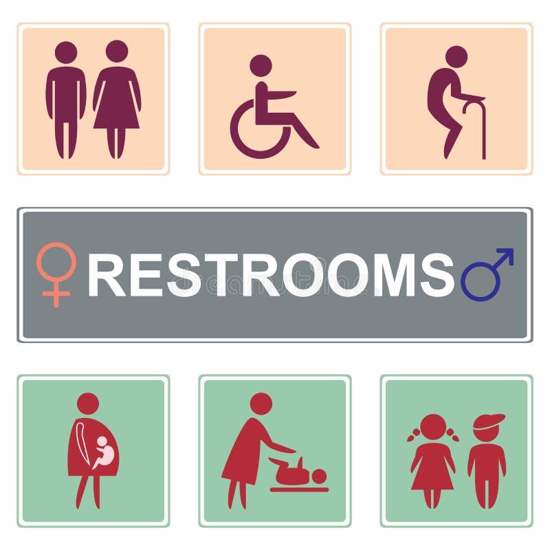 Vettore dell'icona della toilette, icona delle toilette fotografia stock
