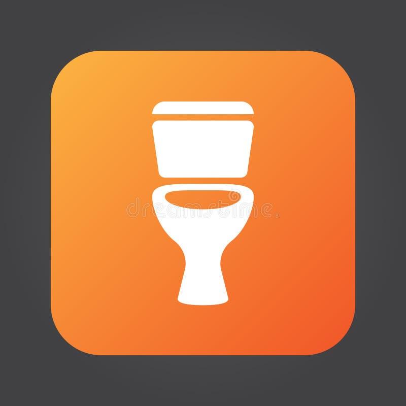 Vettore dell'icona della toilette, illustrazione di logo di colore solido, pittogramma isolato sul nero illustrazione vettoriale