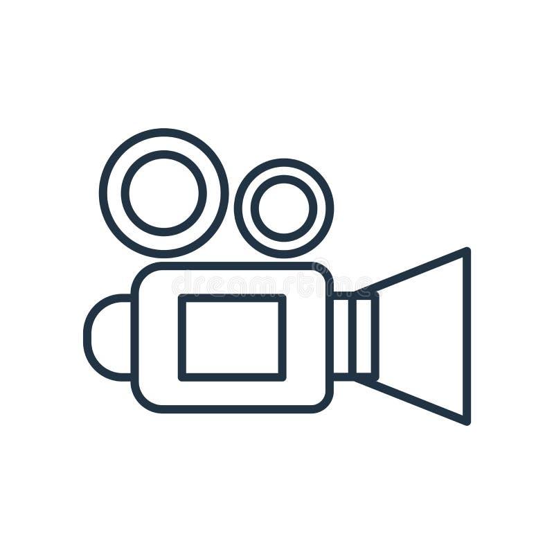 Vettore dell'icona della videocamera della bobina del cinema isolato su fondo bianco, segno della videocamera della bobina del ci royalty illustrazione gratis