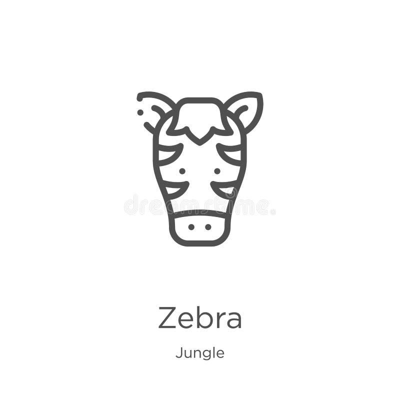 vettore dell'icona della zebra dalla raccolta della giungla Linea sottile illustrazione di vettore dell'icona del profilo della z royalty illustrazione gratis