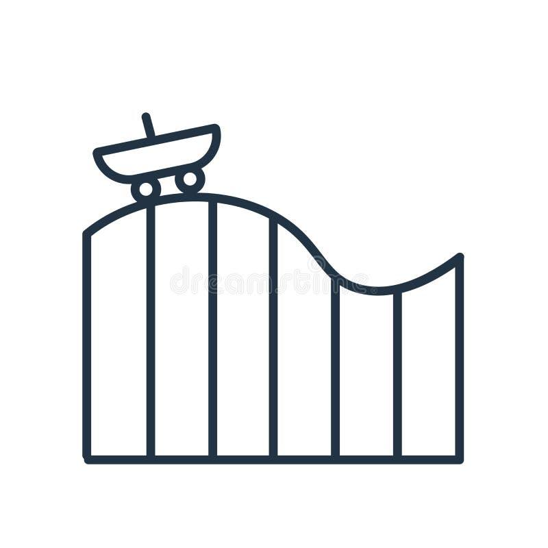 Vettore dell'icona delle montagne russe isolato su fondo bianco, segno delle montagne russe illustrazione di stock