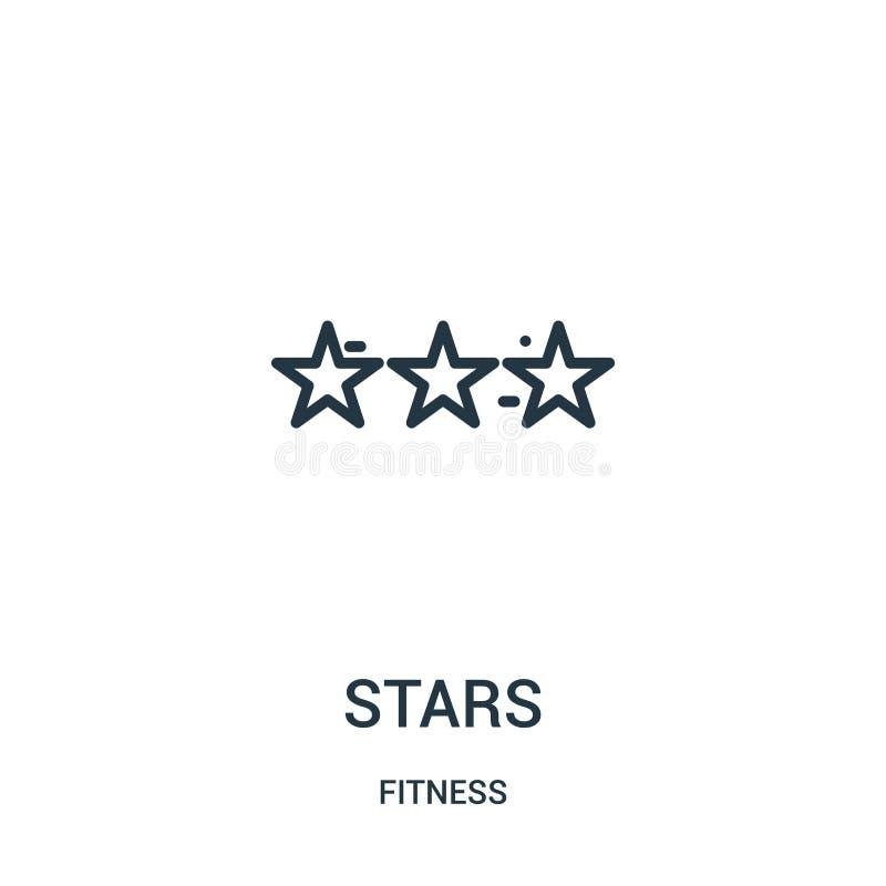 vettore dell'icona delle stelle dalla raccolta di forma fisica Linea sottile illustrazione di vettore dell'icona del profilo dell illustrazione vettoriale