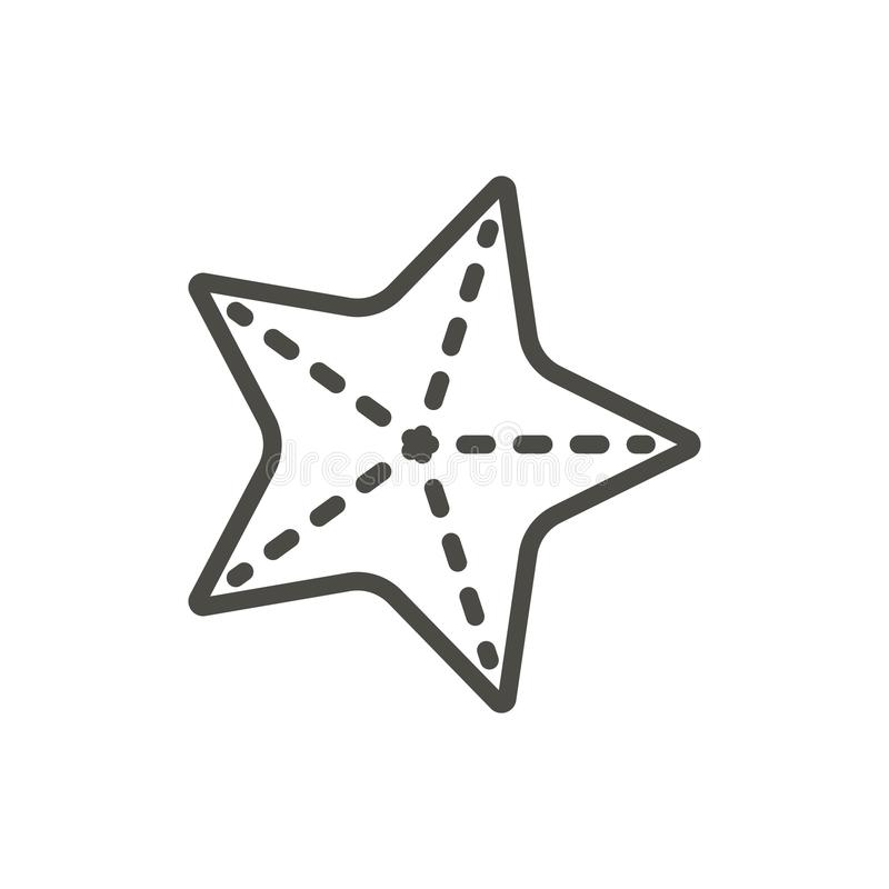 Vettore dell'icona delle stelle marine Linea simbolo della stella di mare isolato Progettazione piana d'avanguardia del segno di  royalty illustrazione gratis