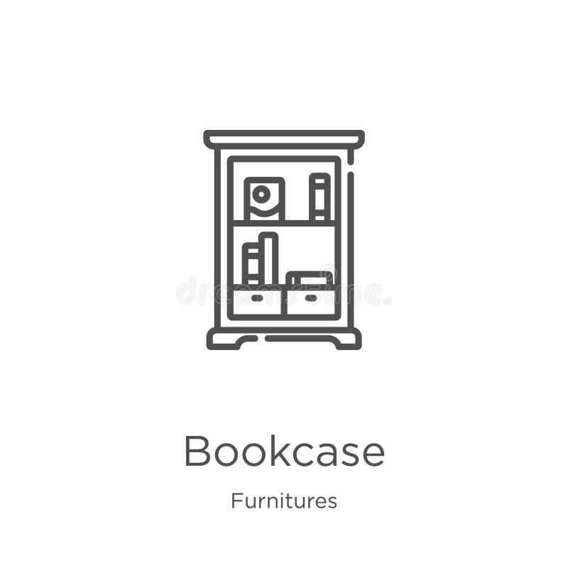 vettore dell'icona dello scaffale dalla raccolta delle mobilie Linea sottile illustrazione di vettore dell'icona del profilo dell illustrazione di stock