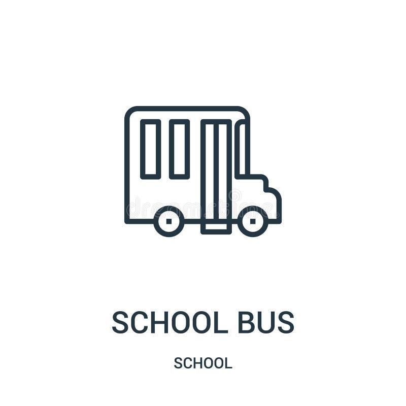 vettore dell'icona dello scuolabus dalla raccolta della scuola Linea sottile illustrazione di vettore dell'icona del profilo dell illustrazione di stock