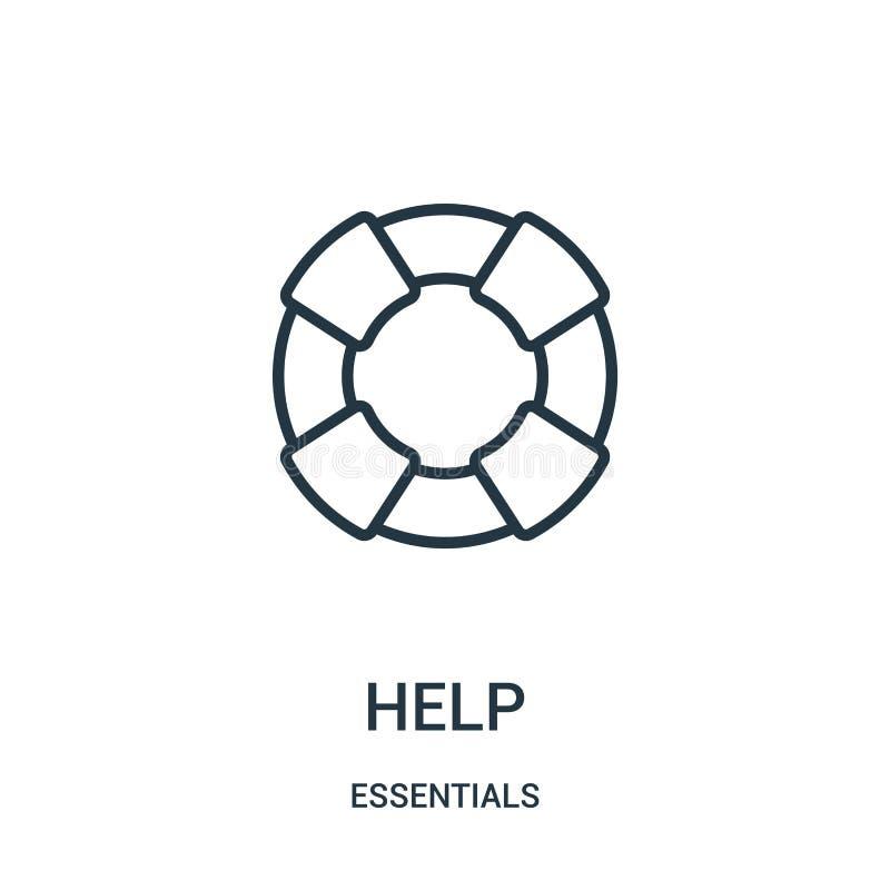 vettore dell'icona di aiuto dalla raccolta degli elementi essenziali Linea sottile illustrazione di vettore dell'icona del profil illustrazione vettoriale