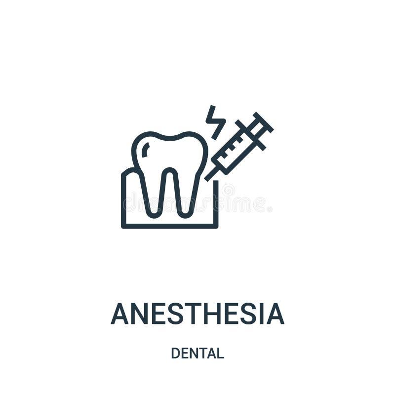vettore dell'icona di anestesia dalla raccolta dentaria Linea sottile illustrazione di vettore dell'icona del profilo di anestesi illustrazione vettoriale