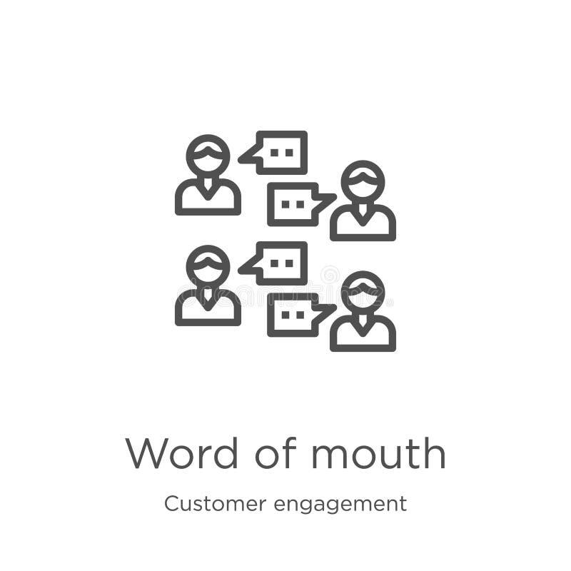 vettore dell'icona di bocca in bocca dalla raccolta di impegno del cliente Linea sottile illustrazione di vettore dell'icona del  illustrazione vettoriale