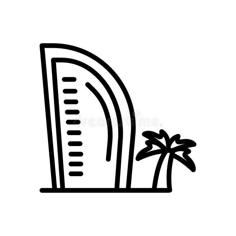 Vettore dell'icona di Burj Al Arab isolato su fondo bianco, segno di Burj Al Arab illustrazione di stock