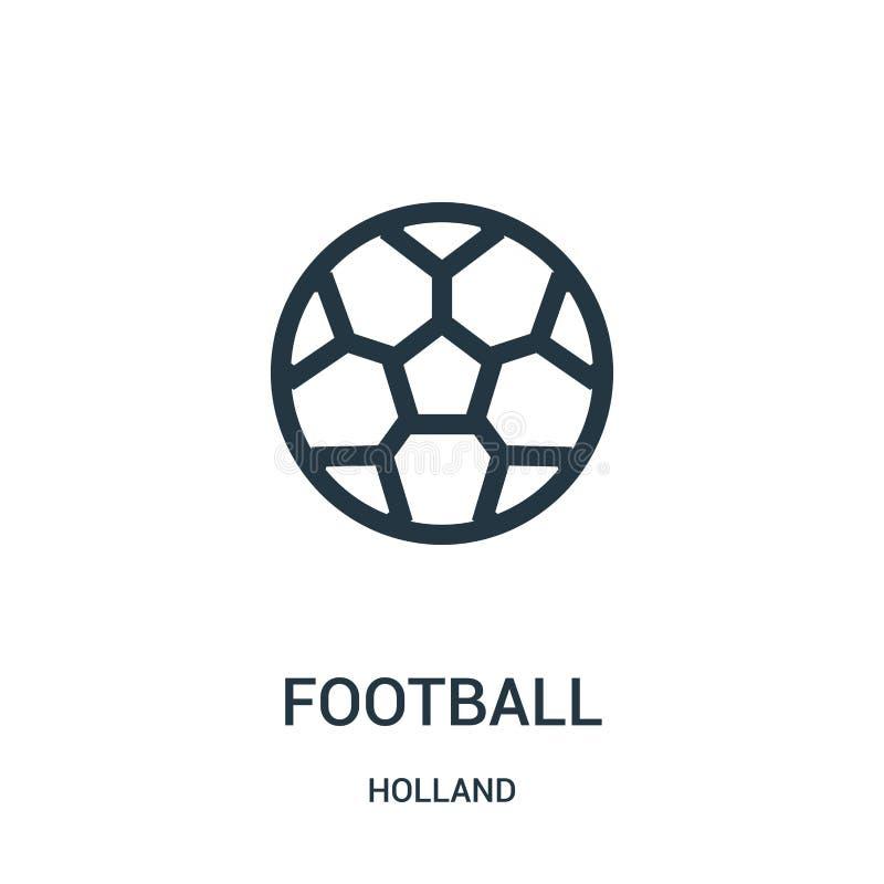 vettore dell'icona di calcio dalla raccolta dell'Olanda Linea sottile illustrazione di vettore dell'icona del profilo di calcio S royalty illustrazione gratis