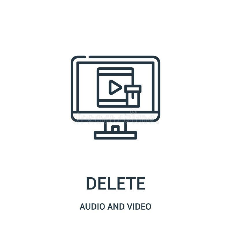 vettore dell'icona di cancellazione dall'audio e video raccolta Linea sottile illustrazione di vettore dell'icona del profilo di  illustrazione vettoriale