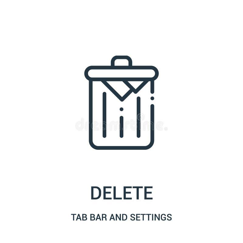 vettore dell'icona di cancellazione dalla barra della linguetta e dalla raccolta delle regolazioni Linea sottile illustrazione di royalty illustrazione gratis