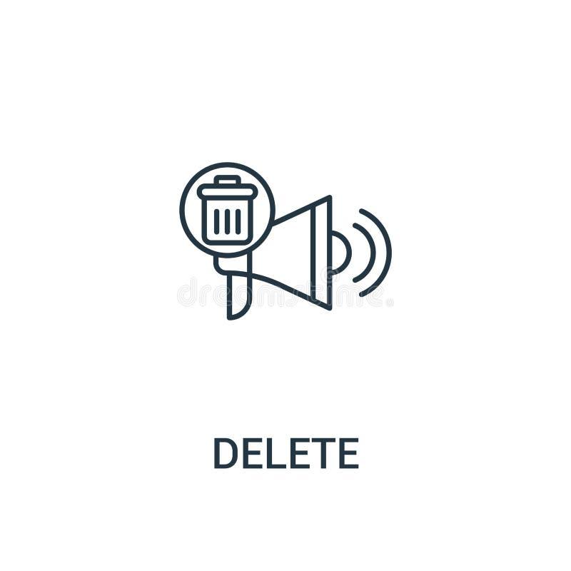 vettore dell'icona di cancellazione dalla raccolta degli annunci Linea sottile illustrazione di vettore dell'icona del profilo di illustrazione vettoriale